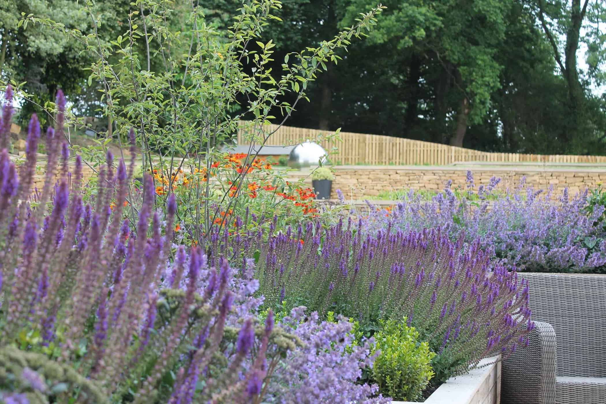 Terraced Garden bestall and co Beautiful Planting Planting Design Dry Stone Wall English country classic garden Modern terraced garden
