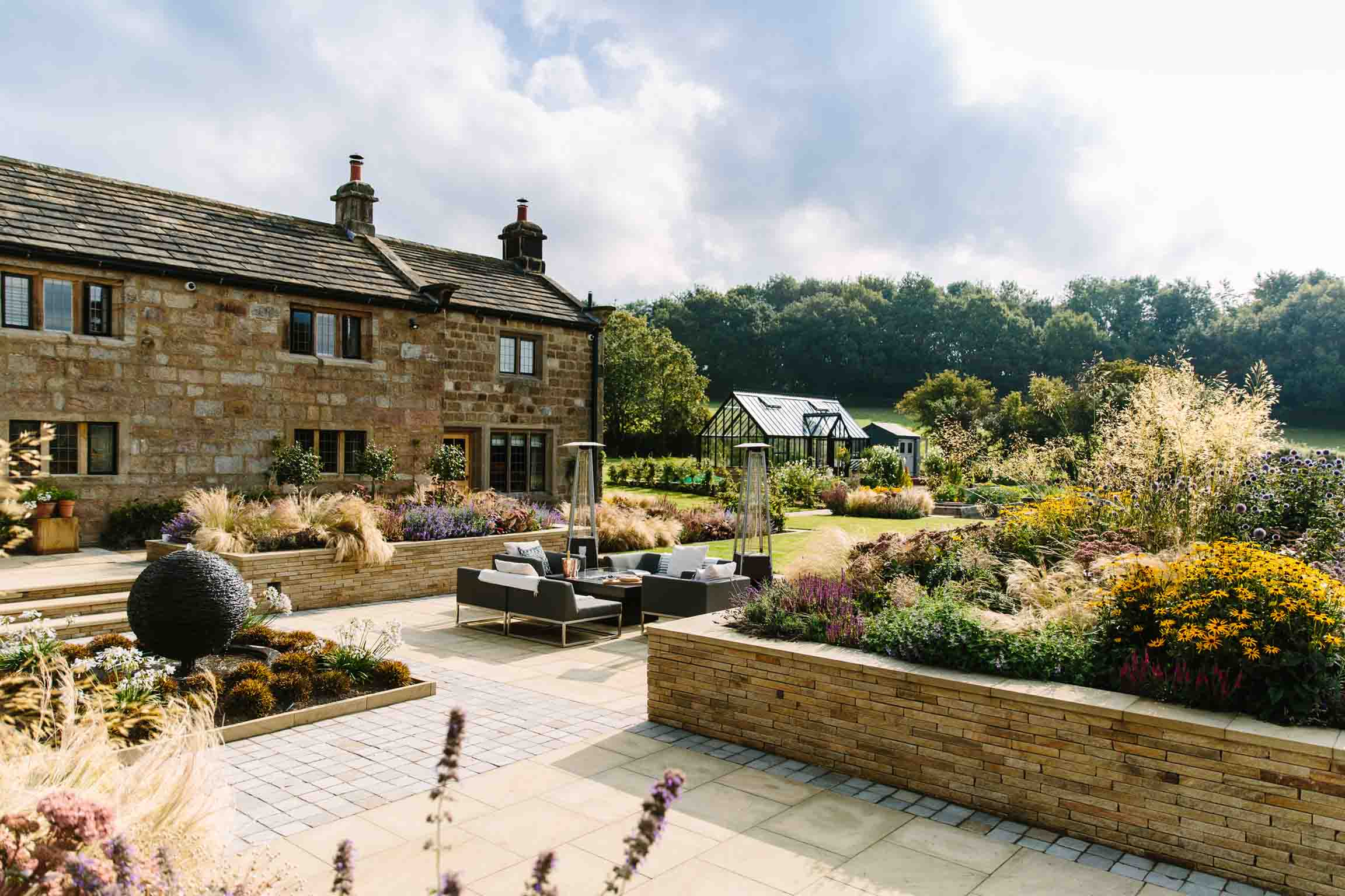 Country Garden-and-co-yorkshire-modern-planting-dutch-planting Terraced Garden bestall and co Beautiful Planting Planting Design Dry Stone Wall English country classic garden Kat Weatherill