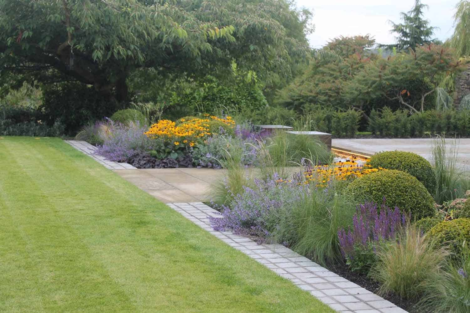 Garden Design Yorkshire rural views, a garden with stilted hedging underplanted with grasses