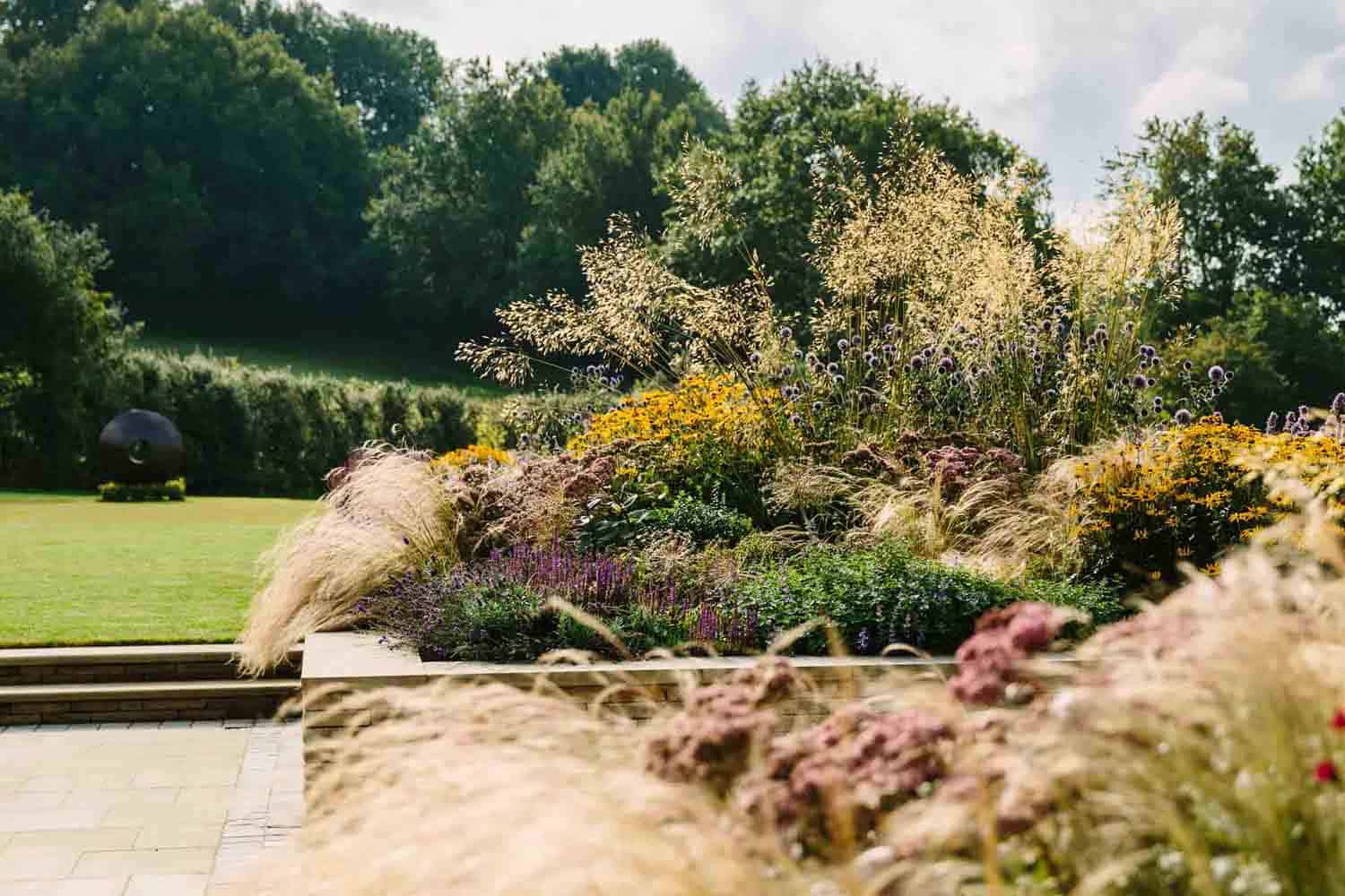 Country Garden-bestall-and-co-yorkshire-modern-planting-dutch-planting Terraced Garden bestall and co Beautiful Planting Planting Design Dry Stone Wall English country classic garden Kat Weatherill