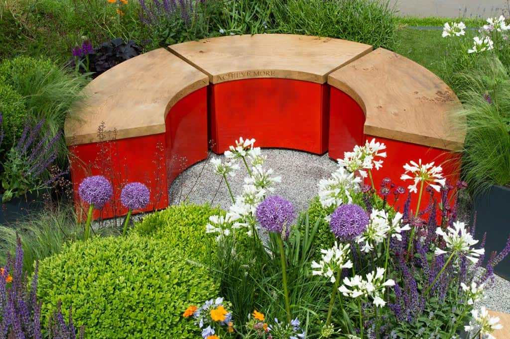 Beautiful curved benches at The Sir Simon Milton Foundation Garden, Chelsea Flower Show 2016 with painted orange betula trees and herbaceous planting, Box balls and allium bulbs
