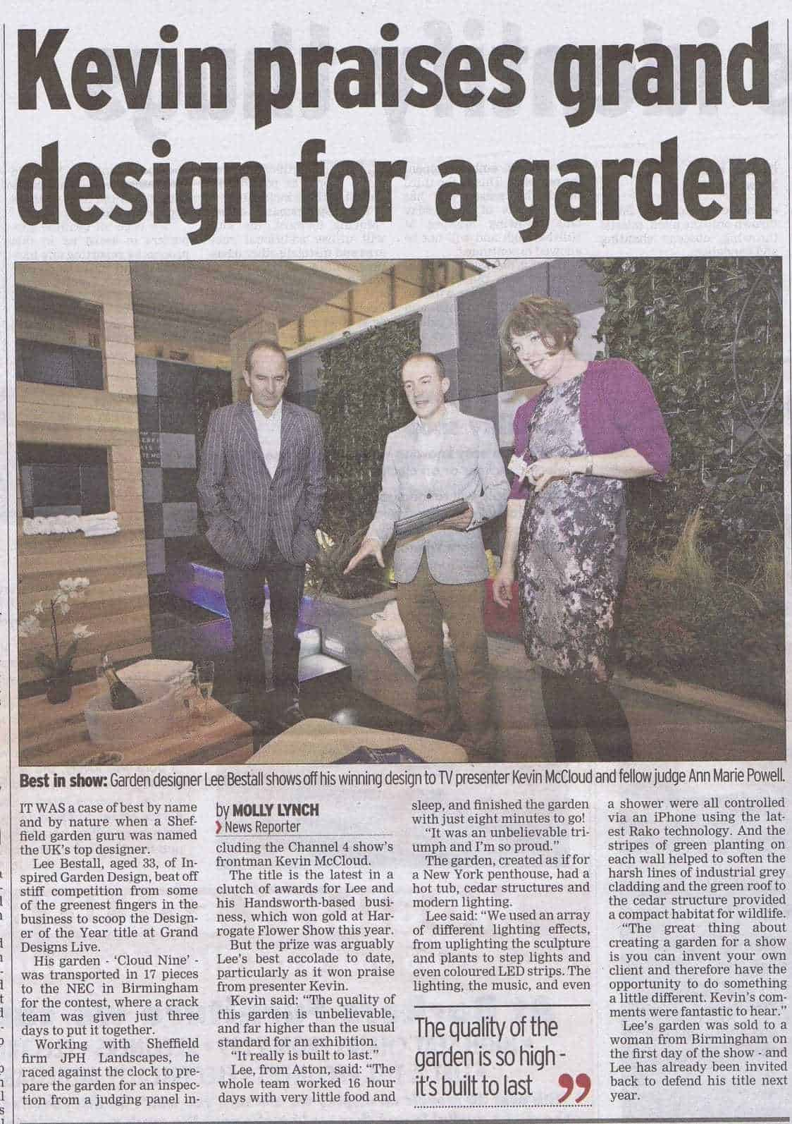 kevin praises grand design for a garden