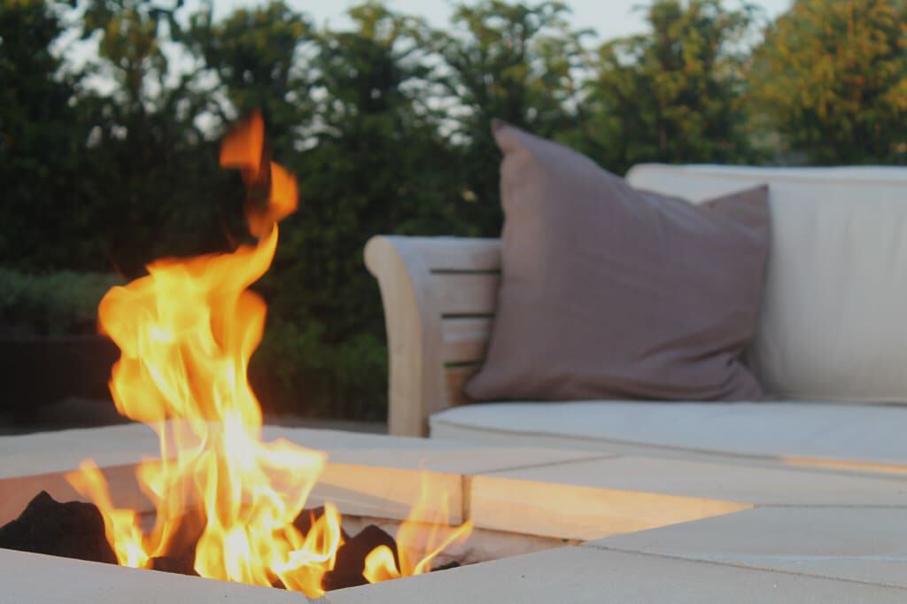 Stone Square Gas Fire Pit